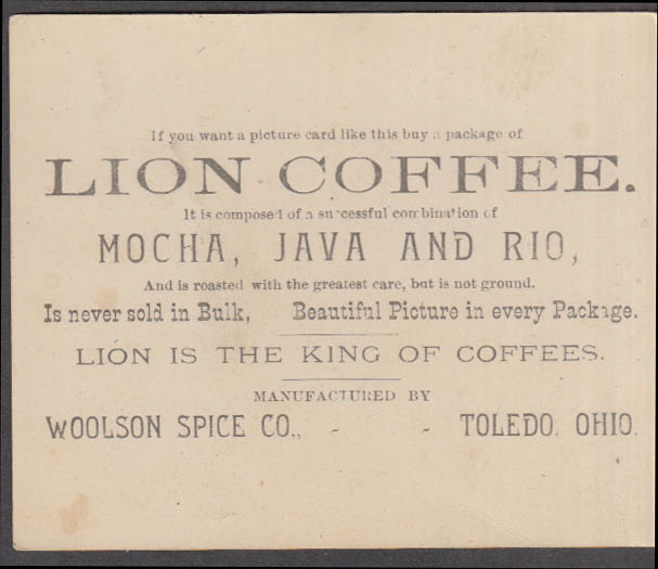 Woolson Spice Co Lion Coffee trade card 1880s little girl with cat