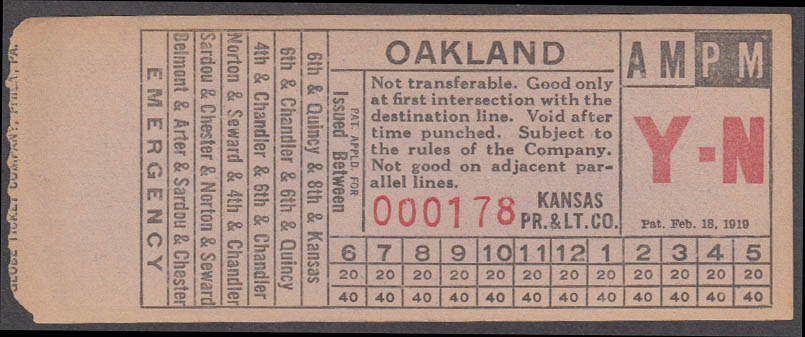 Kansas Power & Light bus transfer Oakland: Topeka KS ca 1950s 1938