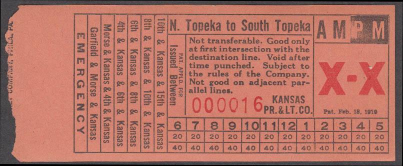 Kansas Power & Light bus transfer North Topeka to South Topeka KS 1938