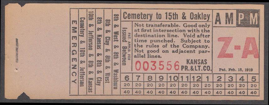 Kansas Power & Light bus transfer Cemetery to 15th & Oakley: Topeka KS 1938