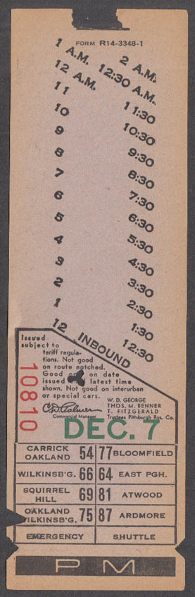 Pittsburgh Railways streetcar trolley transfer punched Oakland 1938-1951