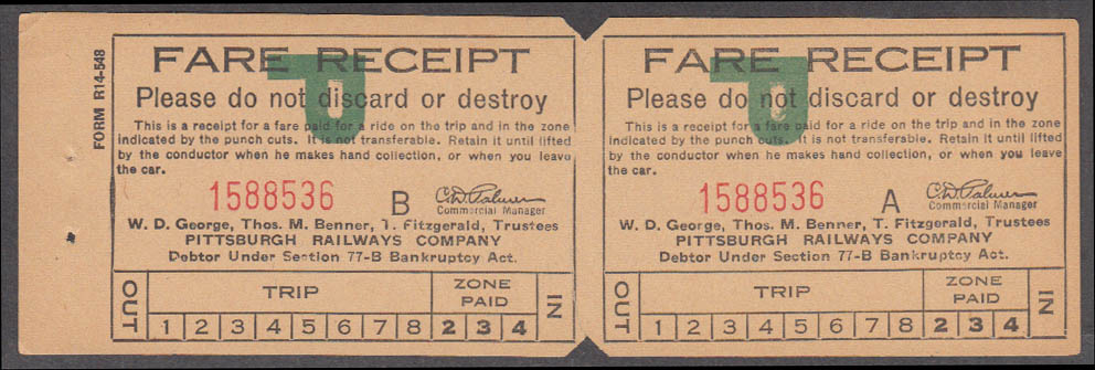 Pittsburgh Railways streetcar trolley Fare Receipt Line P 1938-1951