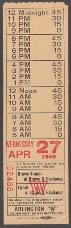 Akron Transportation Bus Transfer: Arlington West 4/27 1949 OH