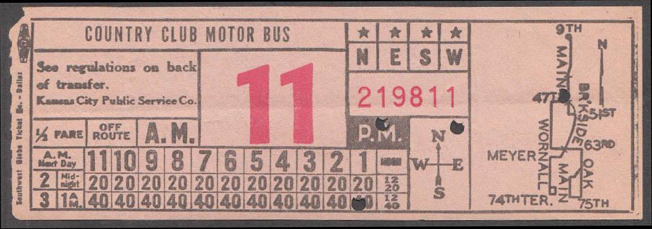 Kansas City KS Public Service Country Club Motor Bus transfer ca 1940s