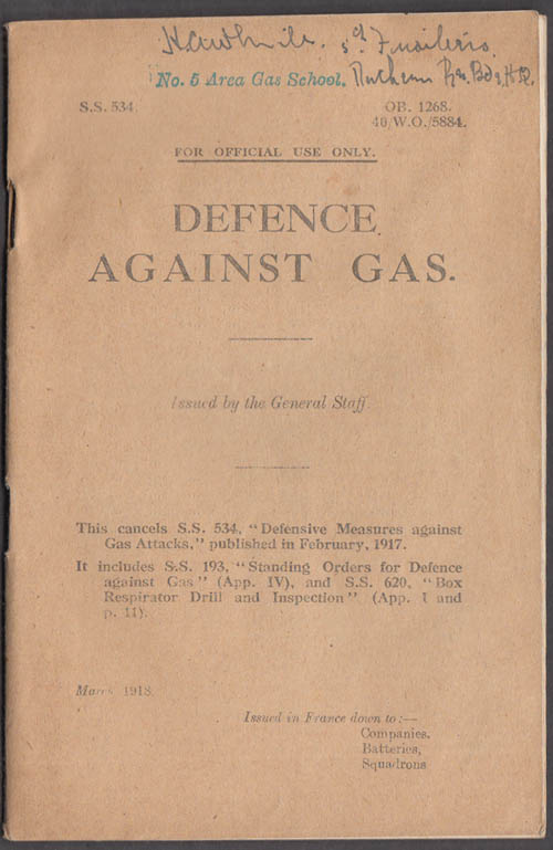 British Army Defence Against Gas Bulletin 3 1918 World War I