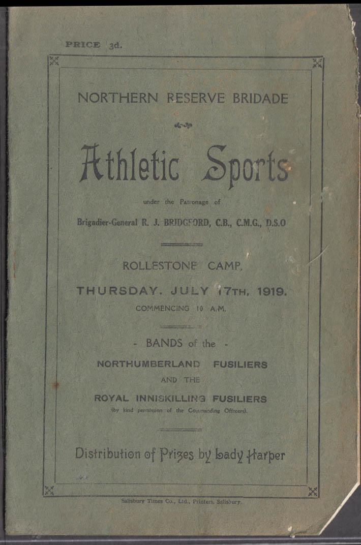 Northern Reserve Brigade Athletic Sports Program Rollestone Camp 1919 UK