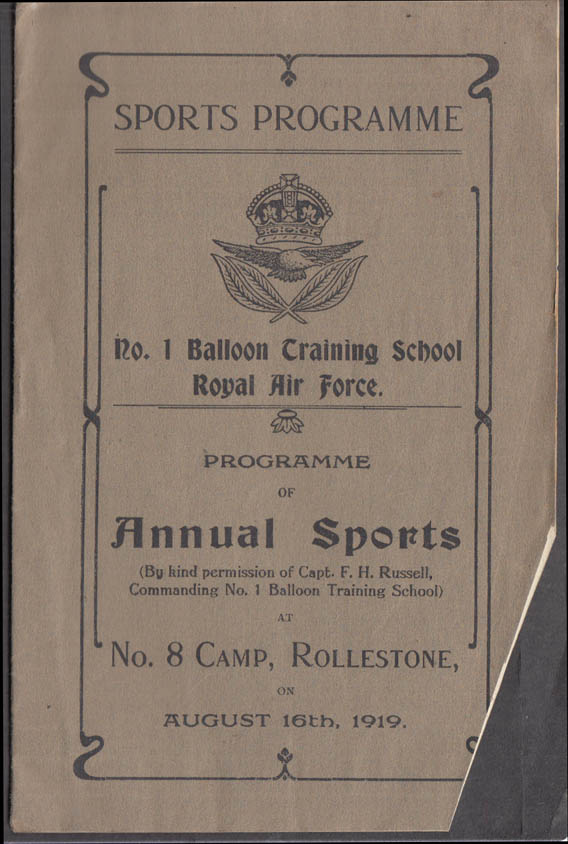 #1 Balloon Training Camp RAF Sports Programme Rollestone 1919 UK