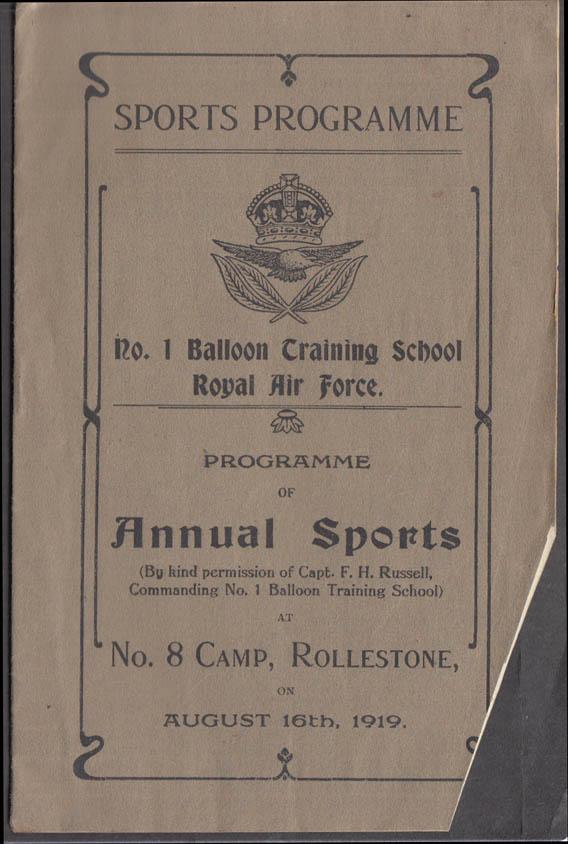 #1 Balloon Training Camp RAF Sports Programme Rollestone 1919 UK