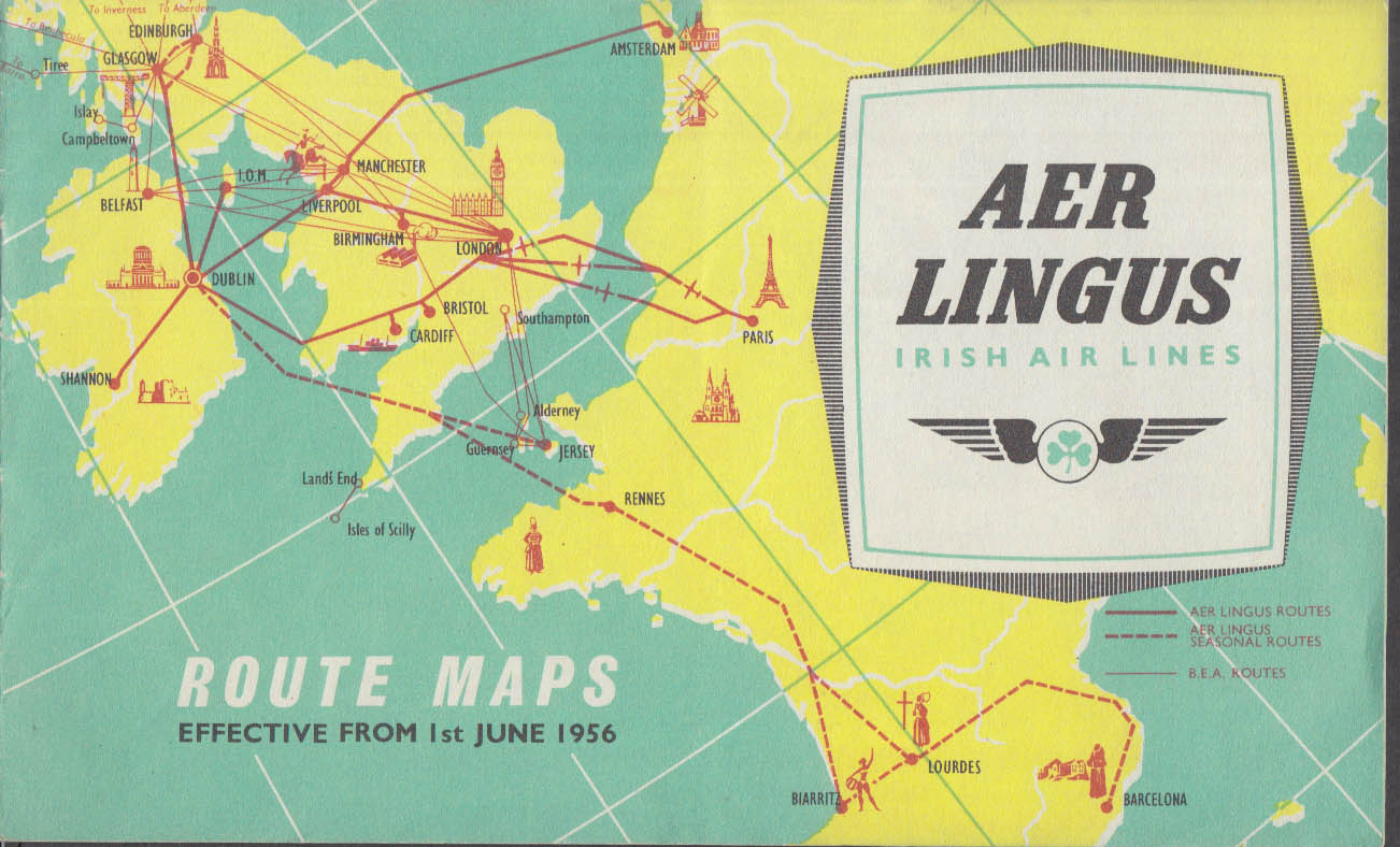 Aer Lingus Irish Air Lines Route Maps 6/1 1956