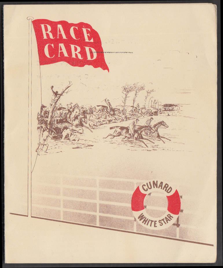Cunard White Star Line M V Georgic Horse Race Card #1 ca 1940s