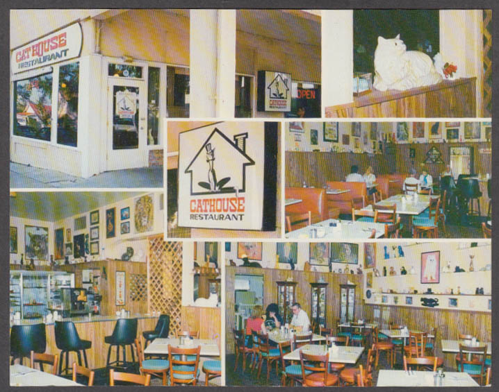 Cathouse Restaurant oversize postcard Sebring FL ca 1960s