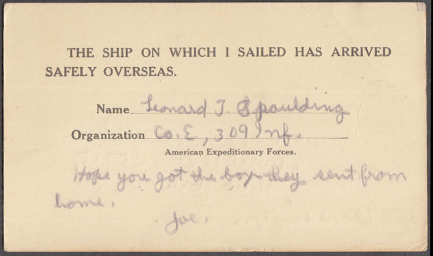 AEF Ship I Sailed on Arrived Safely Soldiers Mail postcard Co E 309 Inf 1917