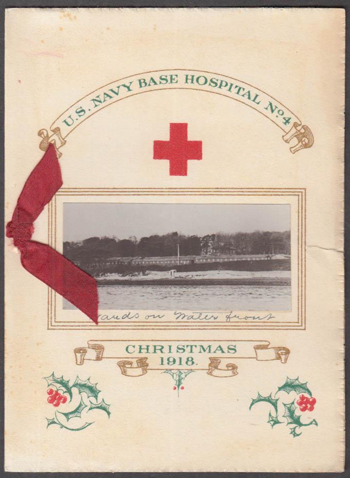 US Navy Base Hospital #4 Christmas Card 1918 Providence RI w/ envelope