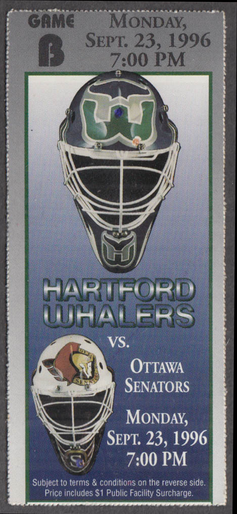 Hartford Whalers vs Ottawa Senators ticket stub 9/23 1996