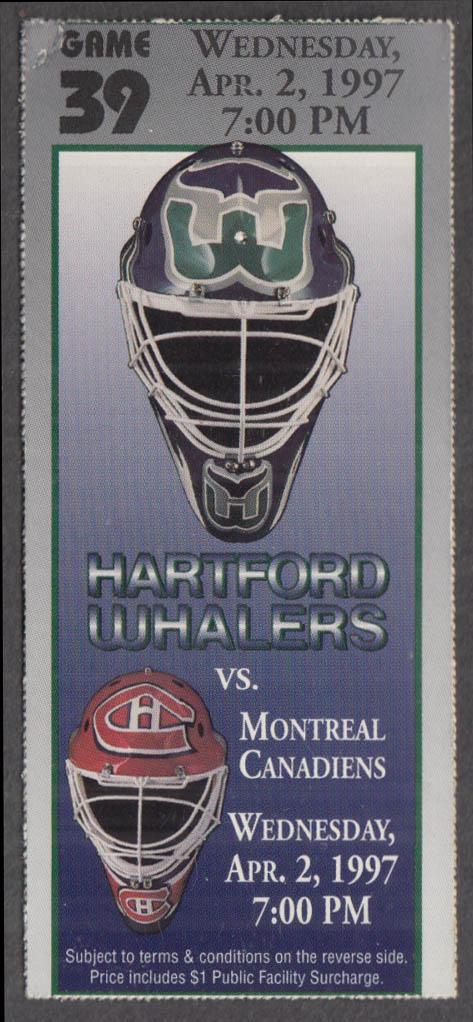 Hartford Whalers vs Montreal Canadiens ticket stub 4/2 1997