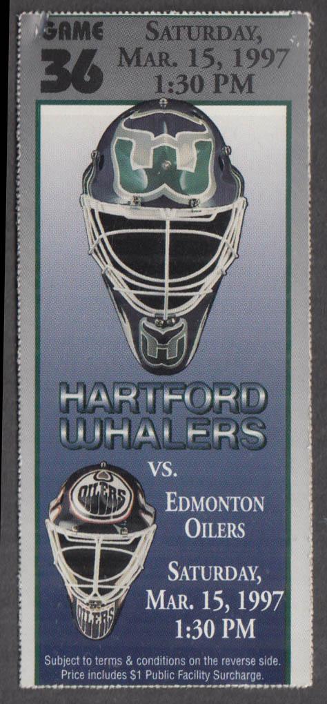 Hartford Whalers vs Edmonton Oilers ticket stub 3/15 1997