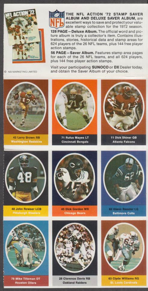 Sunoco NFL Action '72 Stamp set Larry Brown Mayes Rowser Ressler Tilleman +