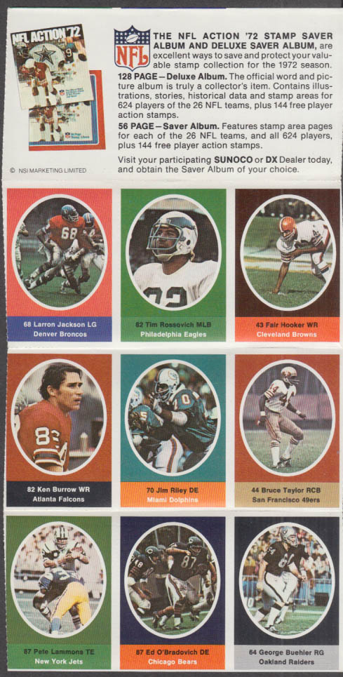 Sunoco NFL Action '72 Stamp set Rossovich Hooker Burrow O'Bradovich Buehler +