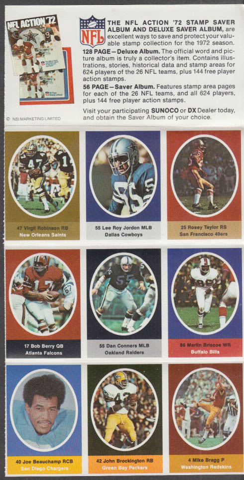 Sunoco NFL Action '72 Stamp set Lee Roy Jordan Conners Briscoe Brockington +