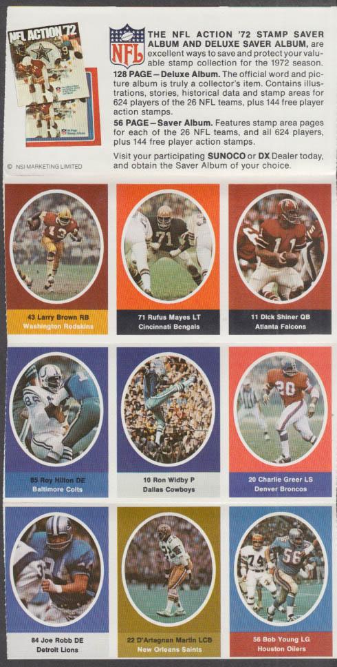 Sunoco NFL Action '72 Stamp set Widby Greer Joe Robb D'Artagnan Martin Young +