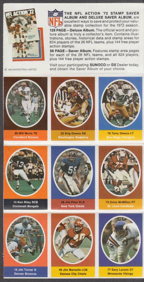 Sunoco NFL Action '72 Stamp set Marsalis Owens Morin Files McMillan Turner +