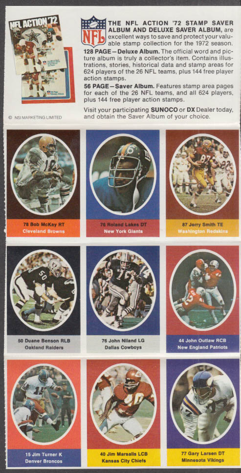 Sunoco NFL Action '72 Stamp set Niland Outlaw Benson Jerry Smith McKay Lakes +