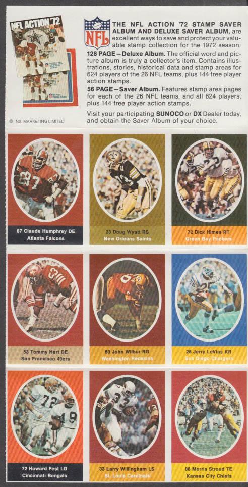 Sunoco NFL Action '72 Stamp set Stroud Fest Hart LeVias Humphrey Wyatt +