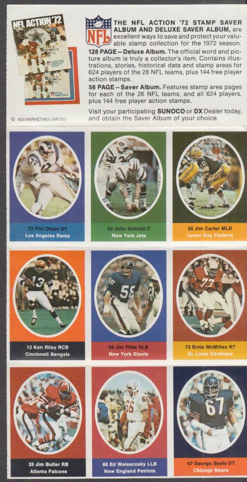 Sunoco NFL Action '72 Stamp set Weisacosky Butler Seals Schmitt Olsen Carter +