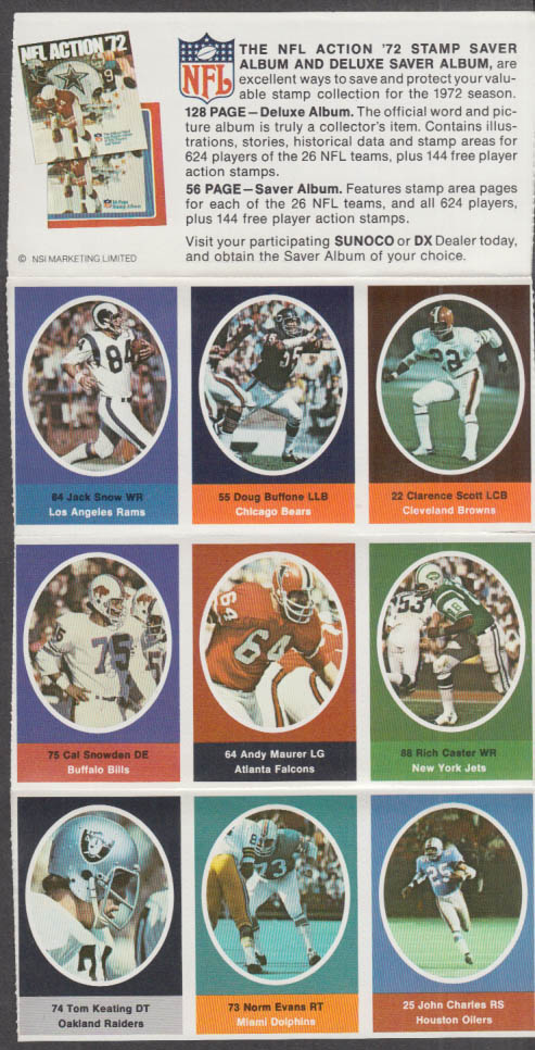 Sunoco NFL Action '72 Stamp set Buffone Caster Keating Snow Snowden +
