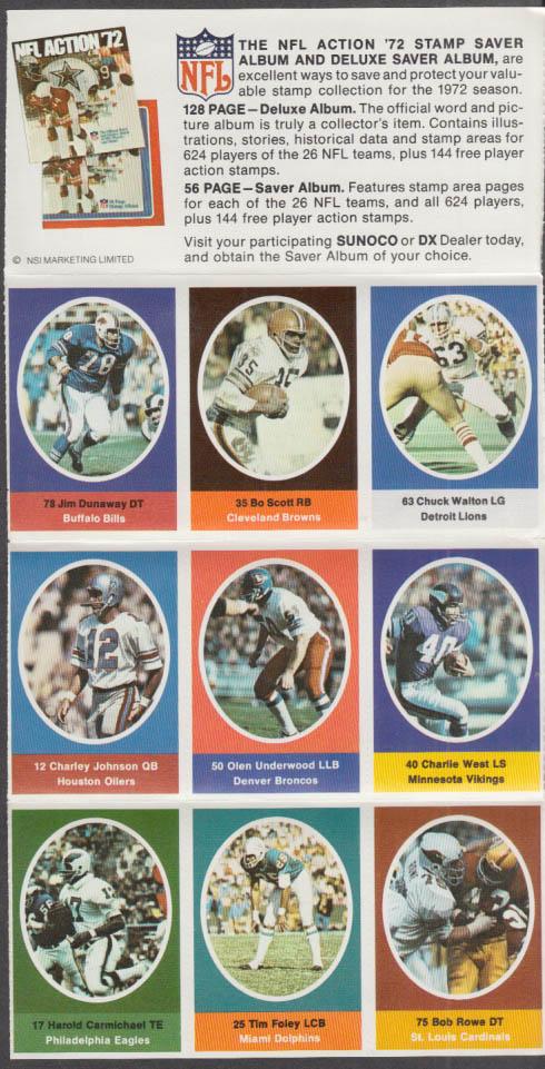 Sunoco NFL Action '72 Stamp set Carmichael Rowe Underwood Walton Scott +