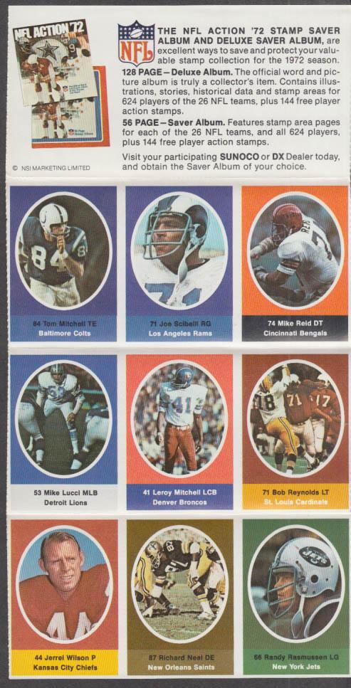 Sunoco NFL Action '72 Stamp set Scibelli Reid Lucci Rasmussen Wilson Neal +
