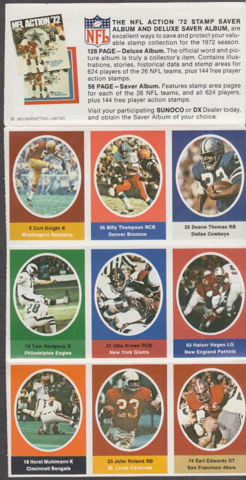 Sunoco NFL Action '72 Stamp set Dempsey Hagen Thomas Muhlmann Roland +