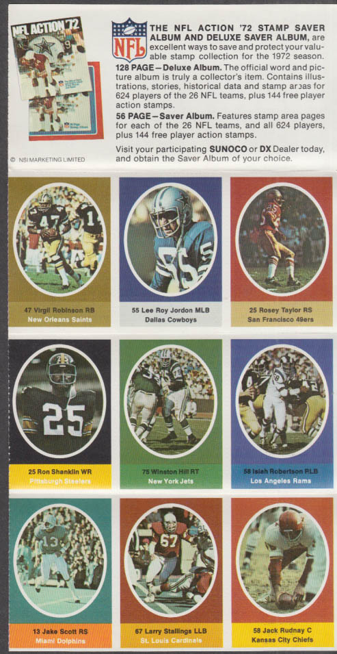 Sunoco NFL Action '72 Stamp set Lee Roy Jordan Shanklin Stallings Rudnay Hill +