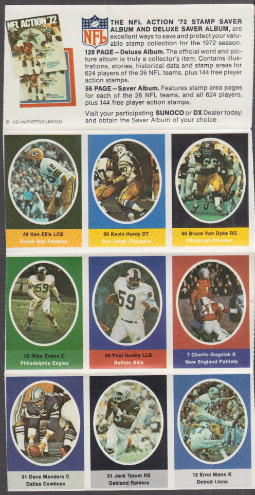 Sunoco NFL Action '72 Stamp set Gogolak Ellis Hardy Manders Tatum Van Dyke +