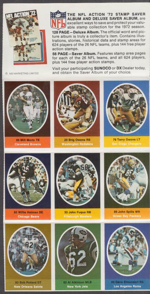 Sunoco NFL Action '72 Stamp set Morin Fuqua Elmendorf Atkinson Pollard +