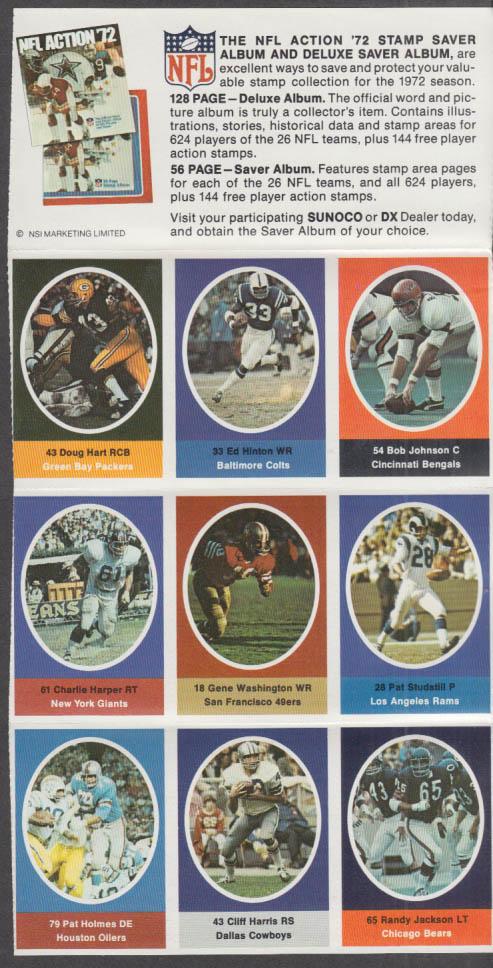 Sunoco NFL Action '72 Stamp set Studstill Holmes Hinton Gene Washington +