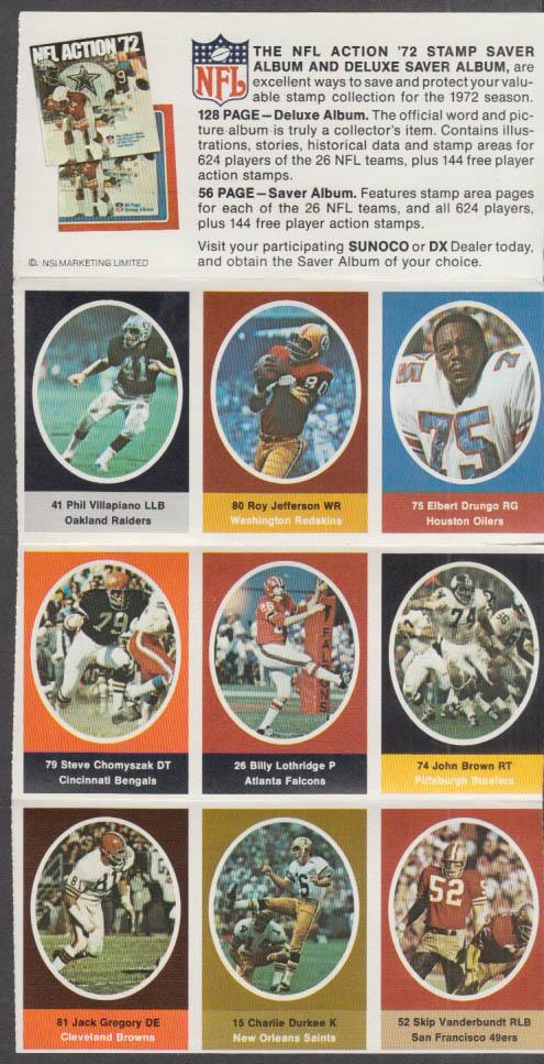 Sunoco NFL Action '72 Stamp set Villapiano Drungo Durkee Chomyszak Jefferson +
