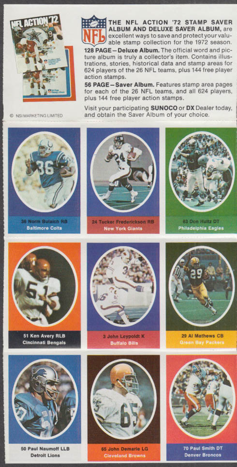 Sunoco NFL Action '72 Stamp set Bulaich Frederickson Leypoldt Avery Demarie +