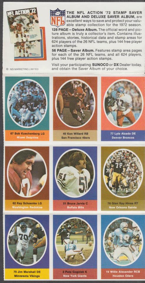 Sunoco NFL Action '72 Stamp set Alzado Kuechenberg Hines Goglak Marshall +