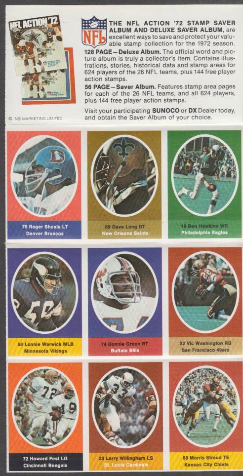 Sunoco NFL Action '72 Stamp set Shoals Hawkins Warwick Washington Green Long +