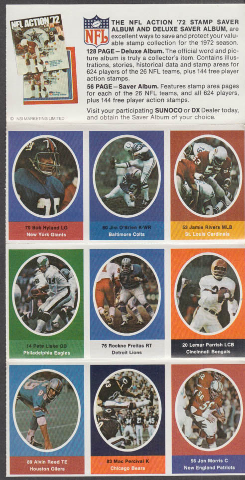 Sunoco NFL Action '72 Stamp set Freitas Parrish O'Brien Hyland Liske Percival +