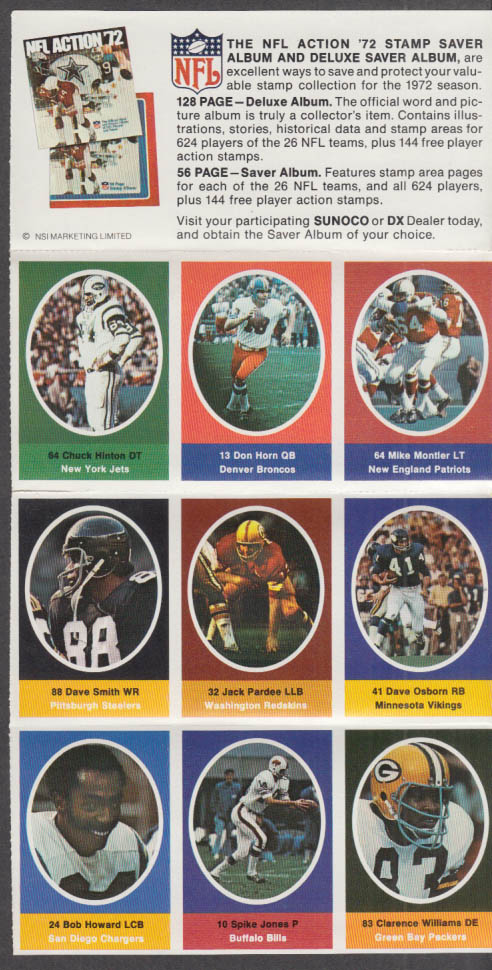 Sunoco NFL Action '72 Stamp set Hinton Pardee Montler Horn Jones Howard +
