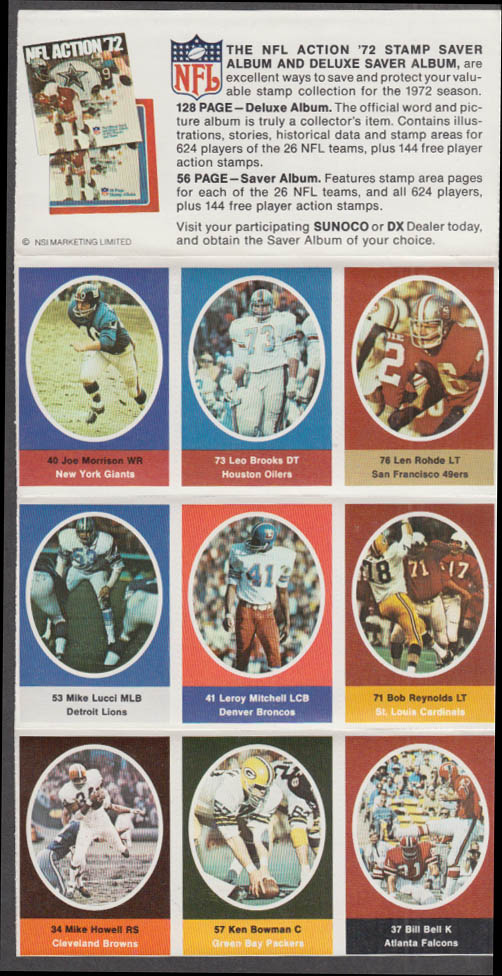 Sunoco NFL Action '72 Stamp set Morrison Rohde Bowman Howell Lucci Bell +