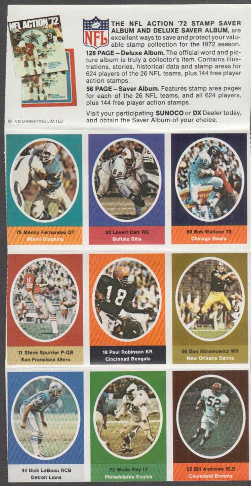 Sunoco NFL Action '72 Stamp set Fernandez Spurrier LeBeau Abramowicz +