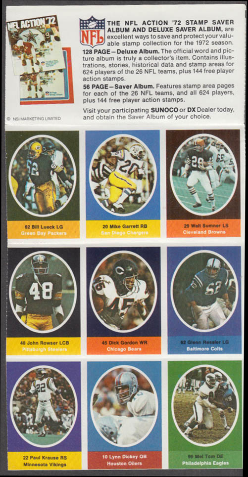 Sunoco NFL Action '72 Stamp set Garrett Sumner Dickey Tom Krause Lueck +