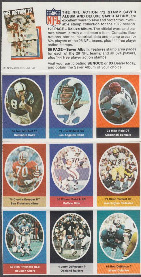 Sunoco NFL Action '72 Stamp set Talbert DePoyster Krueger De Marco Pritchard +