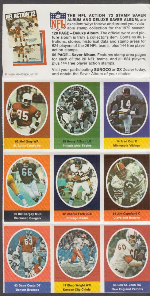 Sunoco NFL Action '72 Stamp set Bergey Copeland St Jean Costa Wright Cox +