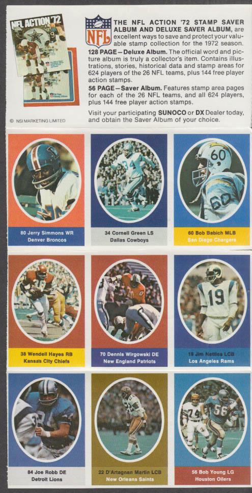 Sunoco NFL Action '72 Stamp set Wirgowski Hayes Babich Simmons Nettles +