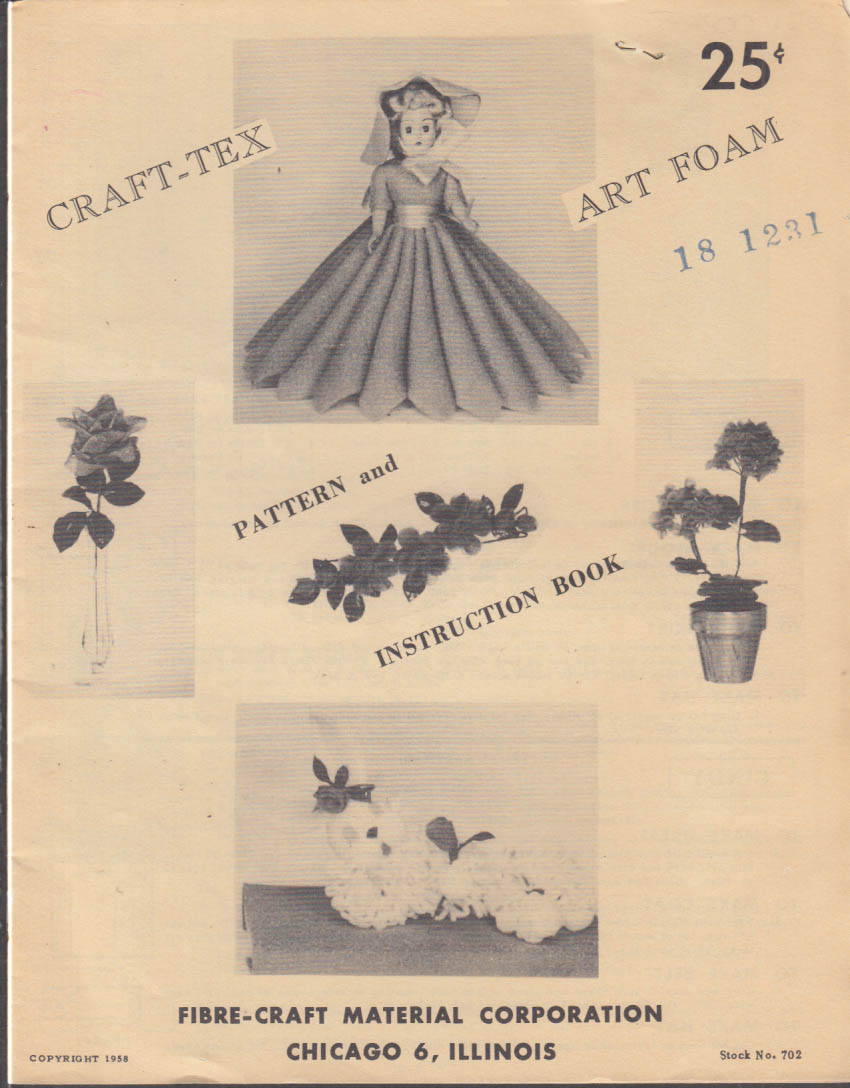 Fibre-Craft Material Craft-Tex Art Foam & Doll Pattern Catalog 1958