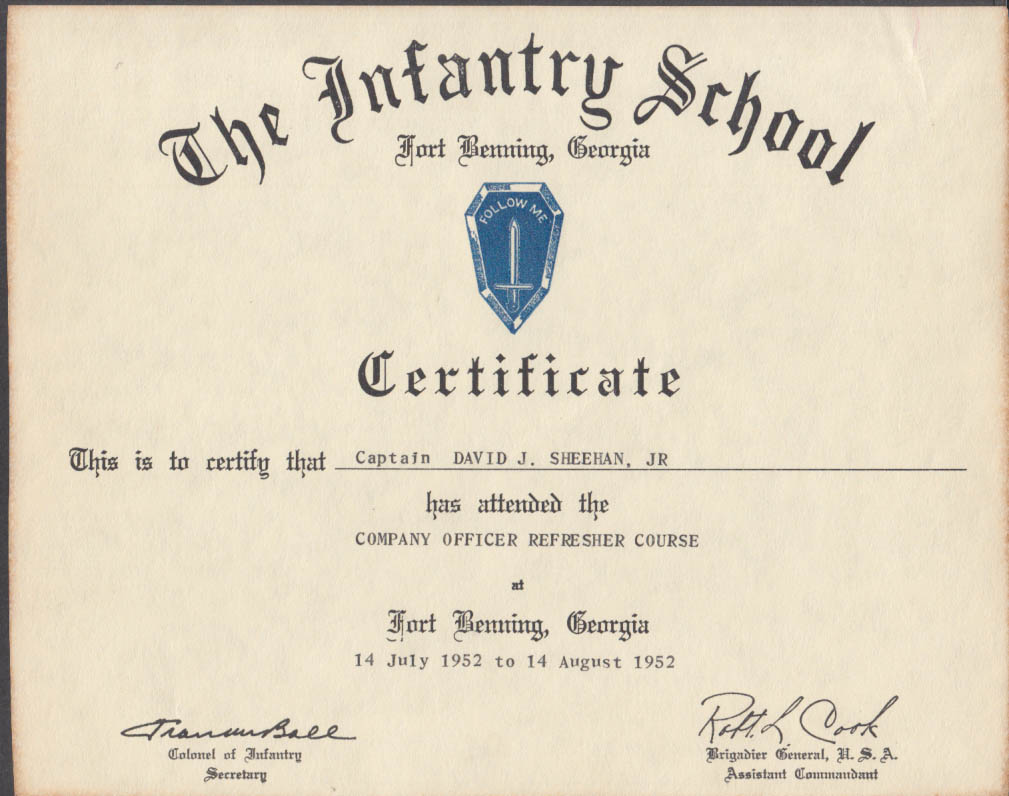 Image for US Army Infantry School Fort Benning Company Officer Refresher Certificate 1952